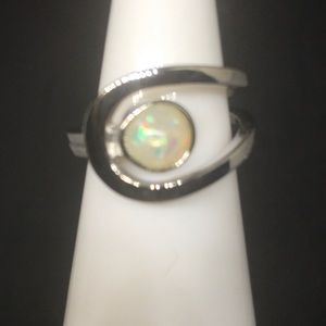 Stamped 925 Ethiopian Welo Opal Engagement ring